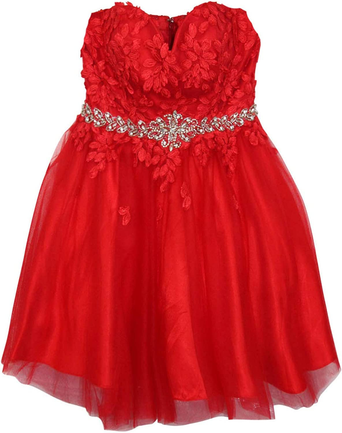 Cinderella Womens Floral Applique Sweetheart Neckline Dress Red Extra Large
