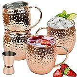Wellead Moscow Mule Becher 4 Kupferbecher Set Gehämmert und Handgefertigt Kupfertassen Großartig für Cocktail Gekühlte Getränk 50CL Fassungsvermögen Einschließen 1 Jigger