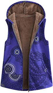 Pgojuni Women Warm Outwear Vintage Geometric Print Hooded Pockets Parka Oversize Vest Coat 1pc