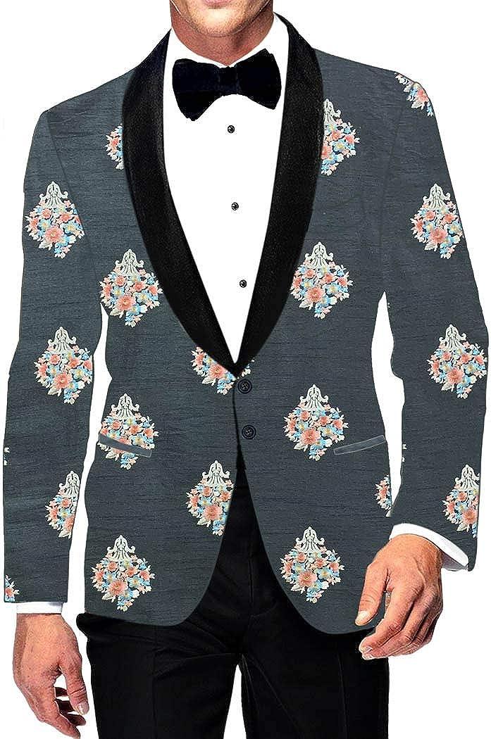 INMONARCH Mens Shawl Collar Slim fit Embroidered Steel Grey Blazer Sport Jacket Coat SBM1034