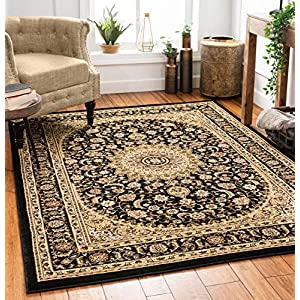 Well Woven Timeless Aviva Traditional French Country Oriental Black Area Rug 6'7″ x 9'3″