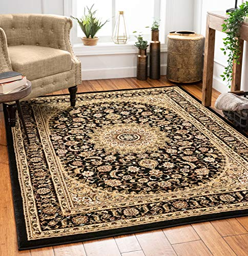 """Sultan Medallion Ivory / Blue Oriental Area Rug 8 x 11 ( 7'10"""" x 10'6"""" ) Persian Floral Traditional Easy Clean Stain Fade Resistant Modern Classic Contemporary Thick Soft Plush Living Dining Room"""