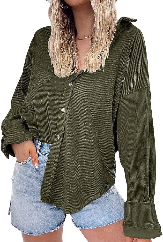 MaQiYa Womens Corduroy Shirts Casual Long Sleeve Button Down Blouses Tops with Pocket