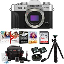 $899 » FUJIFILM X-T30 Mirrorless Digital Camera Body (Silver) Essential Accessory Bundle+ Sandisk 64GB Ultra UHS-I + 2 NP-W126 & Dual Charger + Tripod + Deluxe Photo Software