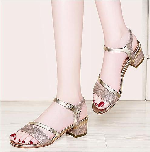 Sandalen Frau dick mit Sommer Schuhe wilde koreanische High Heel Sandaletten Flache Sandalen,Mode Sandalen (Farbe   A, Größe   40)