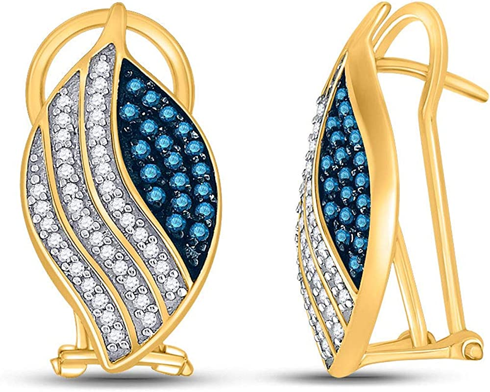 10kt Yellow Gold Womens Round Color Direct stock discount Max 85% OFF Blue Diamond Enhanced Fashio