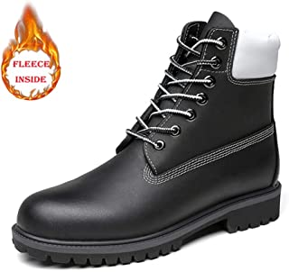 2018 New Arrival Men Boots Men's Ankle Work Boots, Casual Pure Color Lace Up Winter Fleece Inside High Top Boot