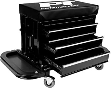 Performance Tool W85025 3-Drawer Rolling Tool Chest Seat With Magnetic Side Trays: image