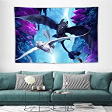 HoMdEfW Tapestries Hiccup How to Train Your Dragon The Hidden World Night Fury and Light Fury Y Print for Living Room Bedroom Dorm W39 X L39 Inch