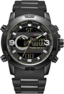 Andoer Men Watch Fashion Alloy Case Digital Analog Dual Movement Watch Sports Waterproof Quartz Wrist Watch