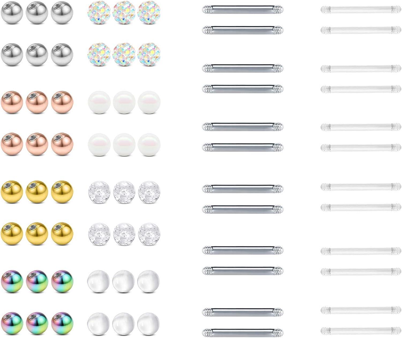 FECTAS 14g Nipple Rings Replacement Balls Tongue Rings 5mm Top Ball Stainless Steel Plastic Nipplerings Barbells Set Piercing Jewelry 12/14/16/18mm
