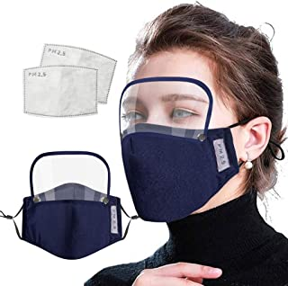 JSPOYOU Adults Washable Reusable Face With Filter And Detachable Eye Shield