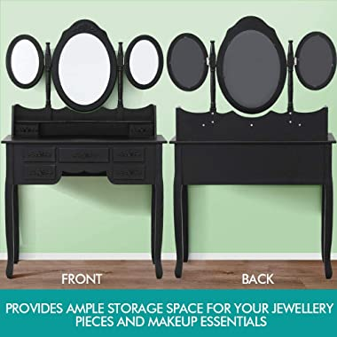 Levede Dressing Table Stool Mirror Drawer Cabinet Jewellery Organizer Bedroom