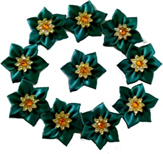 Riddhi Arts Ribbon Flowers Combo Pack of 10 (Green)
