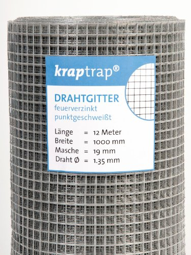 kraptrap® Volierendraht Drahtgitter 19x19mm Masche 1x12m Schweißgitter 4-eck Drahtstärke 1,45mm