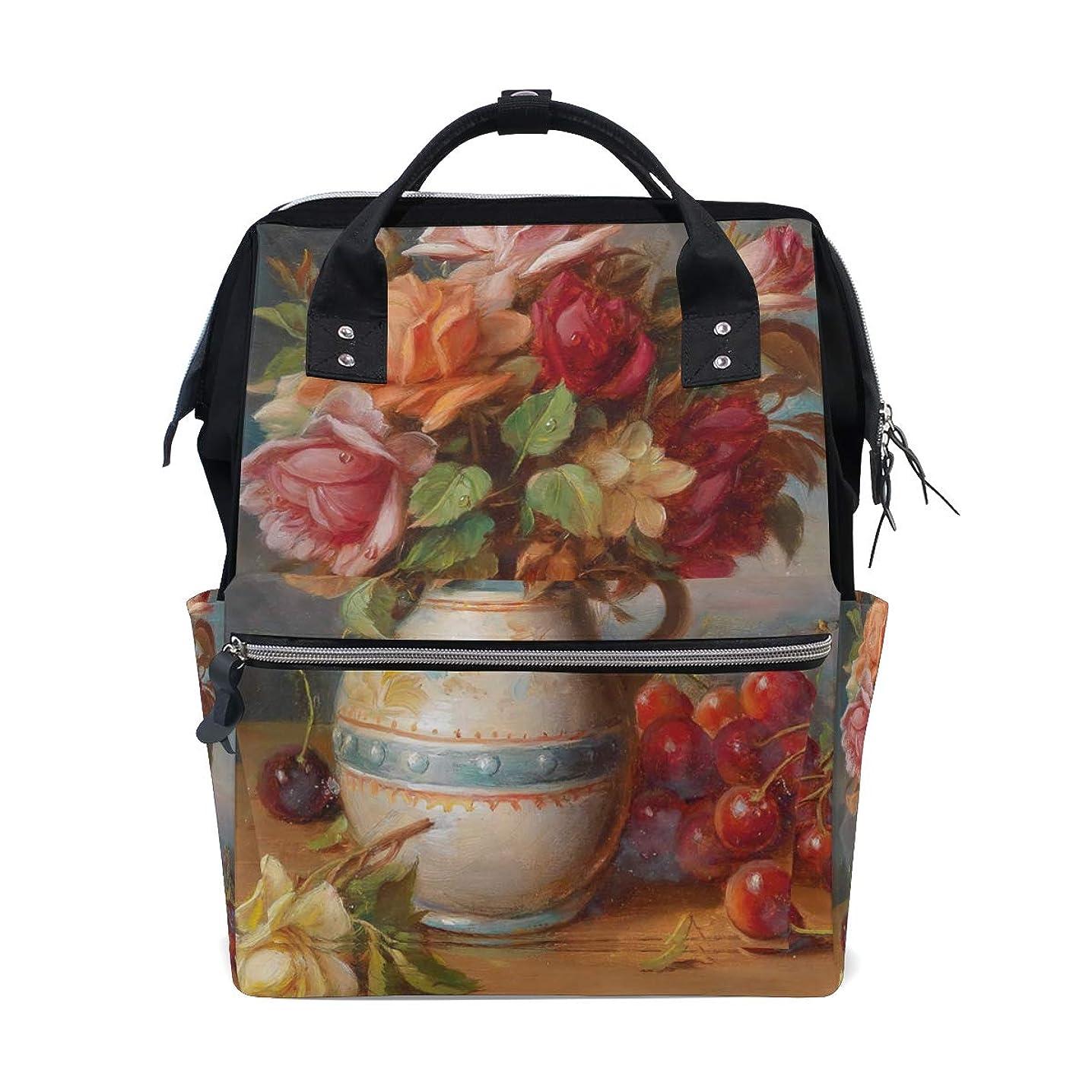 Oil Painting Rose Flowers Cherry School Backpack Large Capacity Mummy Bags Laptop Handbag Casual Travel Rucksack Satchel For Women Men Adult Teen Children