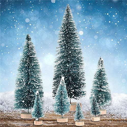 7pcs Mini Tannenbäume Weihnachtsbaum Weihnachtsdeko,Miniatur Baum geschmückt,PVC Weihnachtsbaum Tannenbaum Kiefernadel mit Schnee-Effekt