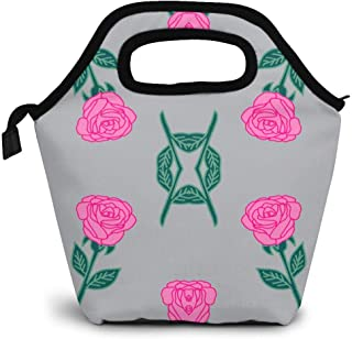 Ink Roses Fabric Pink and Grey Rose Fabric Andrea Lunch Bag Tote Bag Lunch Bag for Women