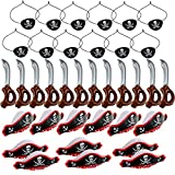 WFPLUS 36 Pieces Funny Pirate Party Set - Pirate Birthday Party Supplies Pirate Favor Toy Bundle with 12pcs Inflatable Swords, 12pcs Pirate Hats, 12pcs Eye Patches for Boys and Girls