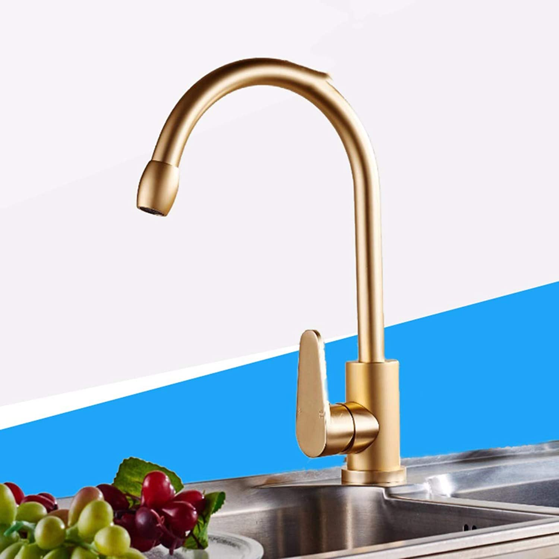 Kitchen tap golden Space Aluminum Kitchen Hot And Cold Faucet Wash Basin Basin Faucet Faucet redatable