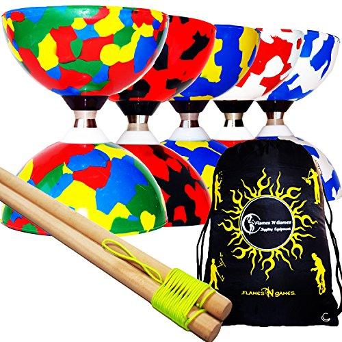 Juggle Dream Jester Pro Diabolo Conjunto (5 Colores) Triple Pelota cojinete Embrague Diabolos + Palos de Madera, Diabolo Cuerda & Bolso de Viaje! (Azul/Bianco)