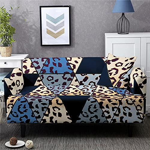 Funda Sofas 2 y 3 Plazas Leopardo Azul Fundas para Sofa con Diseño Elegante Universal,Cubre Sofa Ajustables,Fundas Sofa Elasticas,Funda de Sofa Chaise Longue,Protector Cubierta para Sofá