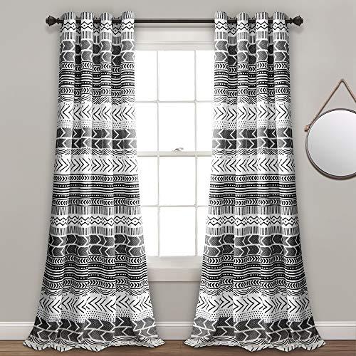 "Lush Decor 16T003172, Black & White Hygge Geo Room Darkening Window Curtain Panel Pair, 84"" x 52"""