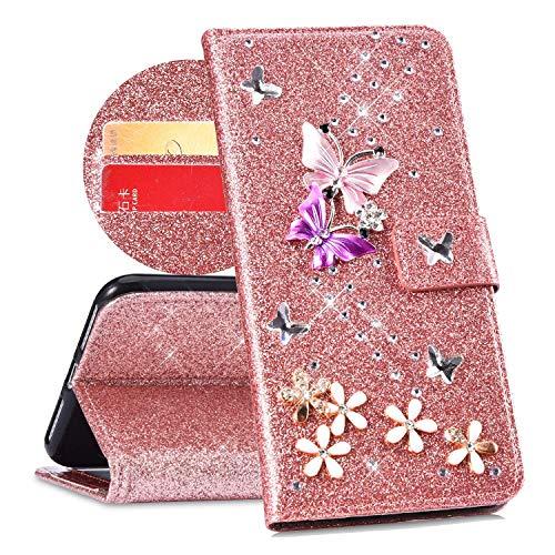QPOLLY Cover Compatibile con Samsung Galaxy A5 2016, Cover Brillantini Glitter Pelle PU Flip Libro PortafoglioSupporto Custodia con 3D Bling Strass Cristallo Diamante Farfalla Fiori Design,Oro Rosa