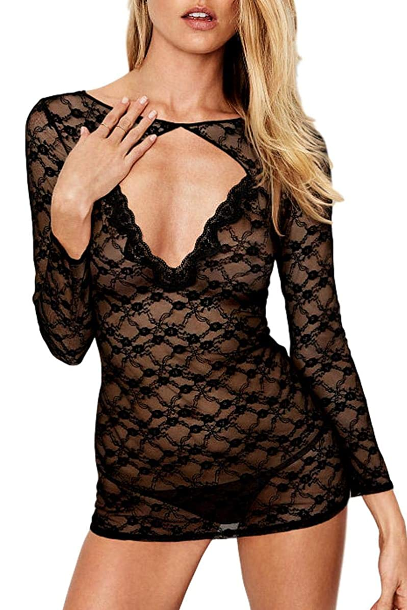 AdoreShe Women's Sexy Hollow Out Lingerie Backless Sheer Floral Lace Chemise Babydoll Long Sleeve Slip Bodysuit