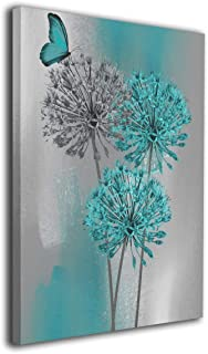 Kingsleyton Teal Gray Butterfly Flower Modern Wall Art Painting The Picture Print On Canvas Pictures for Home Decor Decoration Gift Stretched by Wooden Frame Ready to Hang