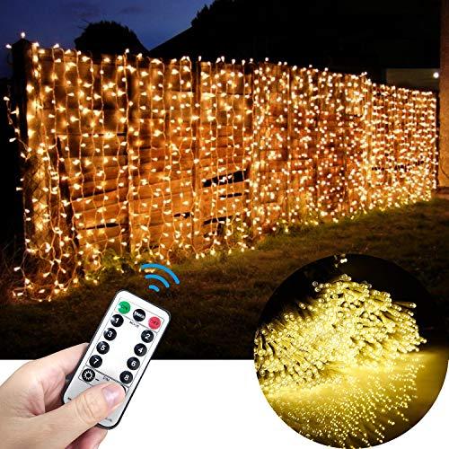 LECLSTAR LED Lichtervorhang 6X3M, 600 LEDs Lichterkette außen und Innen dimmbar, Lichterkettenvorhang 8 Beleuchtungsmodi als Deko für Schlafzimmer Party Hochzeit Weihnachten warmweiß