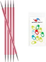 Knitter's Pride Knitting Needles Zing Double Pointed 6 inch Size US 10.5 (6.5mm) Bundle with 10 Artsiga Crafts Stitch Markers 140014