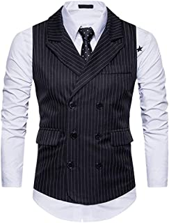 Men's Vest Waistcoat Leisure Slim Fit Business Casual Modern Casual Stripe Vest Wedding Ceremonial Elegant V Neck Blazer ()
