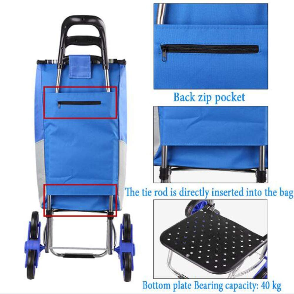 LQ/&XL Stair Climbing Shopping Trolley On 6 Wheels /& Rubber Wheels Folding Shopping Cart with Lid and Zip Pocket,Large Capacity Waterproof,Light Strong /& Stable Mobility Aid for