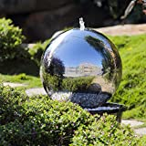 Köhko 50 cm Kugelbrunnen Hochglanz poliert 21005 aus Edelstahl mit LED-Beleuchtung, 45 liters, Silber
