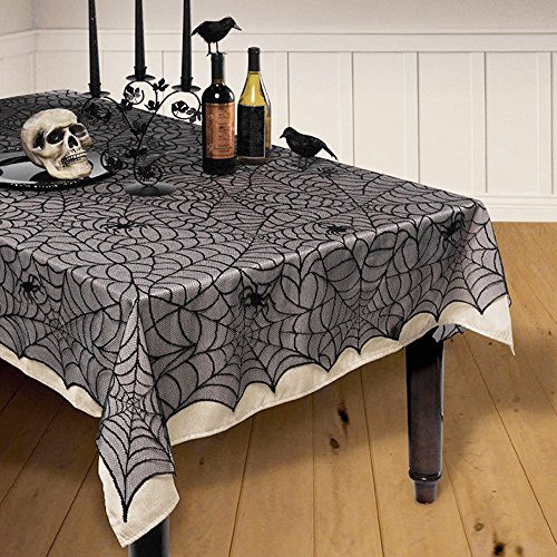 Enjoygoeu 122 * 244cm Halloween Decoración Mantel Gótico de Encaje de Mesa Lace Props Partido Scary para Parties Décor Dinners Estilo Vintage