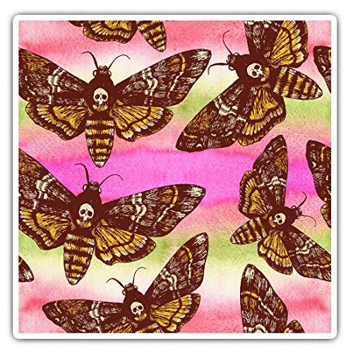 Pegatinas cuadradas impresionantes (juego de 2) 7,5 cm, diseño de polillas de halcón de la muerte, para portátiles, tabletas, equipaje, chatarra, neveras, regalo fresco #16049