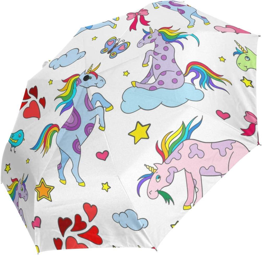 Auto Regular discount Open Close Travel Umbrella U Rainbow Popular shop is the lowest price challenge Heart Unicorn Folding