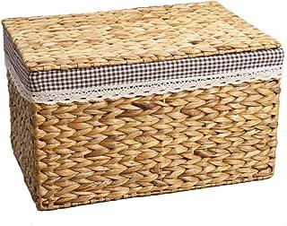 LHY- Boîte de rangement tissée avec housse en rotin Panier de rangement Boîte de rangement en paille for armoire à vêtemen...