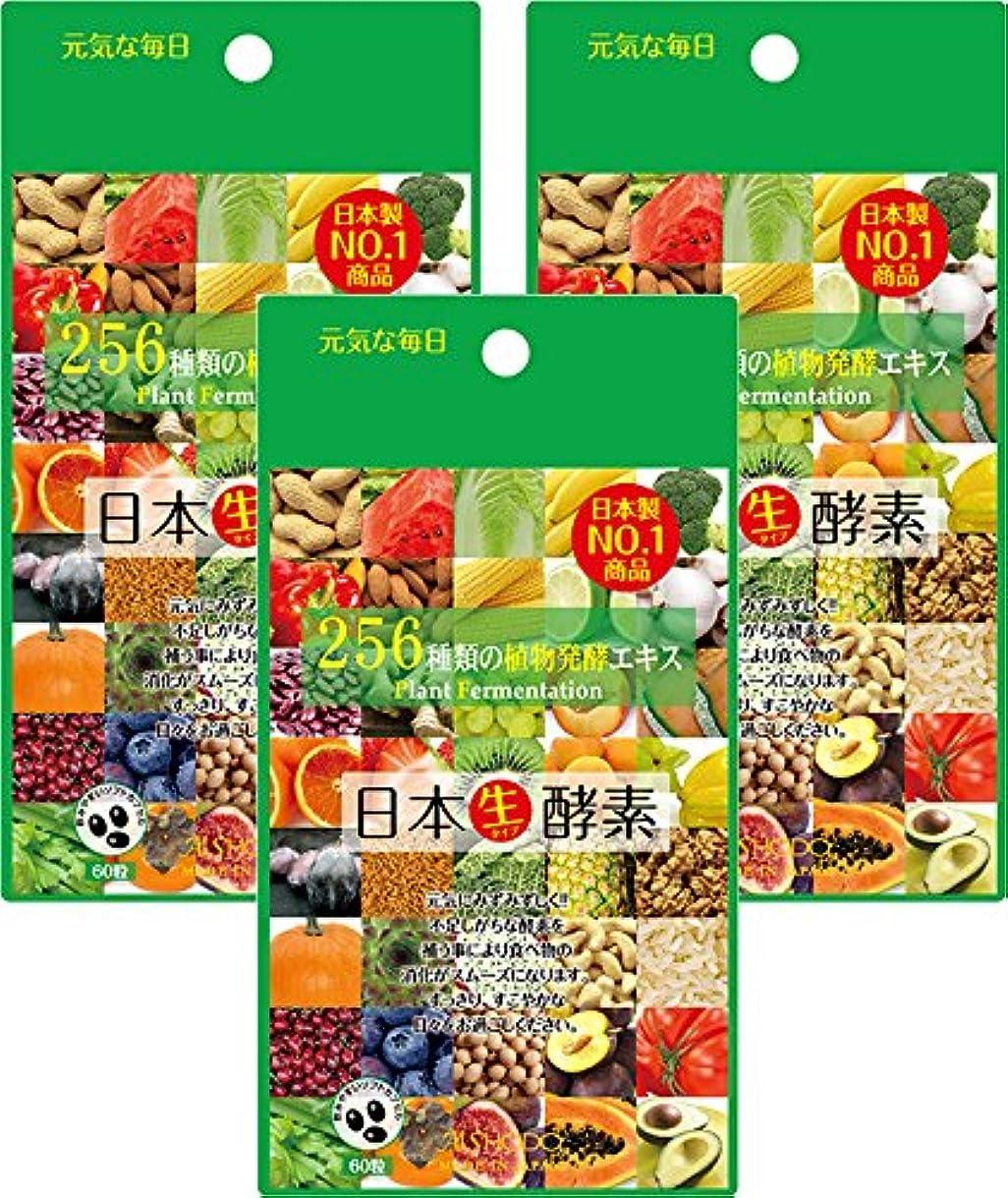 残忍な人里離れたアクセスできない【日本製】日本生酵素 (60粒×3袋セット) 国内厳選256種類の植物発酵エキス