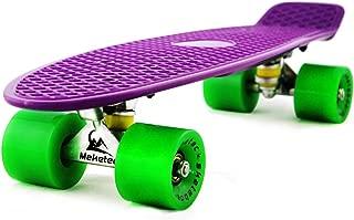 MEKETEC Skateboards Complete 22 Inch Mini Cruiser Retro Skateboard for Kids Boys Youths Beginners