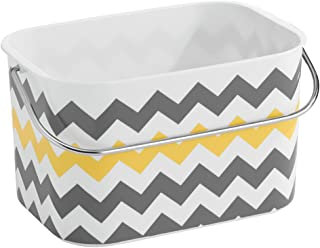 iDesign Una Plastic Chevron Tote Basket with Handle for Storage in Bathroom, Kitchen, Bedroom, College Dorm, 9