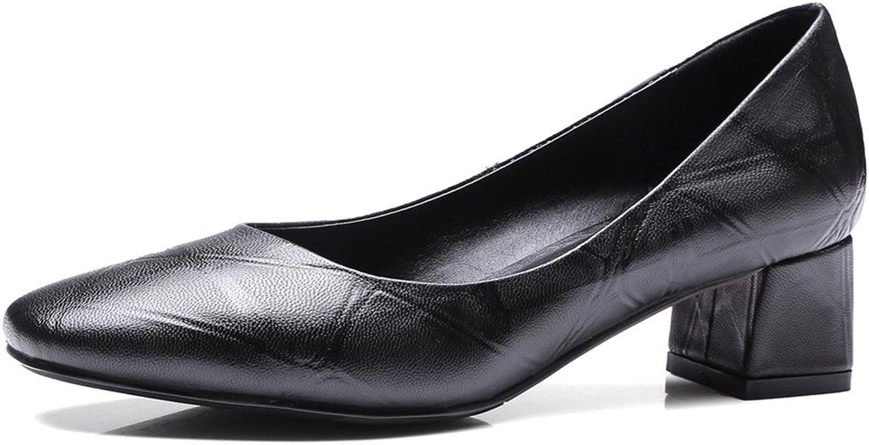 Nine Seven Genuine Leather Women's Square Toe Chunky Heel Handmade Pump