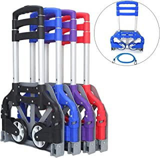 FCH Folding Hand Truck Aluminum Portable Folding Hand Cart 165lbs Capacity Hand Cart and Dolly Ideal for Home, Auto, Office,Travel Use,Blue