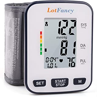 """Wrist Blood Pressure Monitor Cuff by LotFancy, 120 Reading Memory, 2 Users, BP Wrist Cuff (5.3""""- 8.5""""), Digital Blood Pressure Monitor with Large LCD Display, FDA Approved, Portable Case Included"""