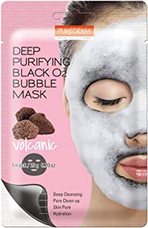 PUREDERM Deep Purifying Black O2 Bubble Sheet Mask Volcanic - 1 Piece