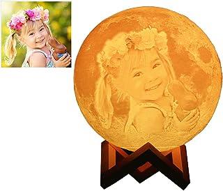Lampara De Luna Personalizada 3d Con Tu Fotos Y Texto USB Recargable 16 Colores Control Remoto Y Táctil Controlar (Diámetro 15 cm)