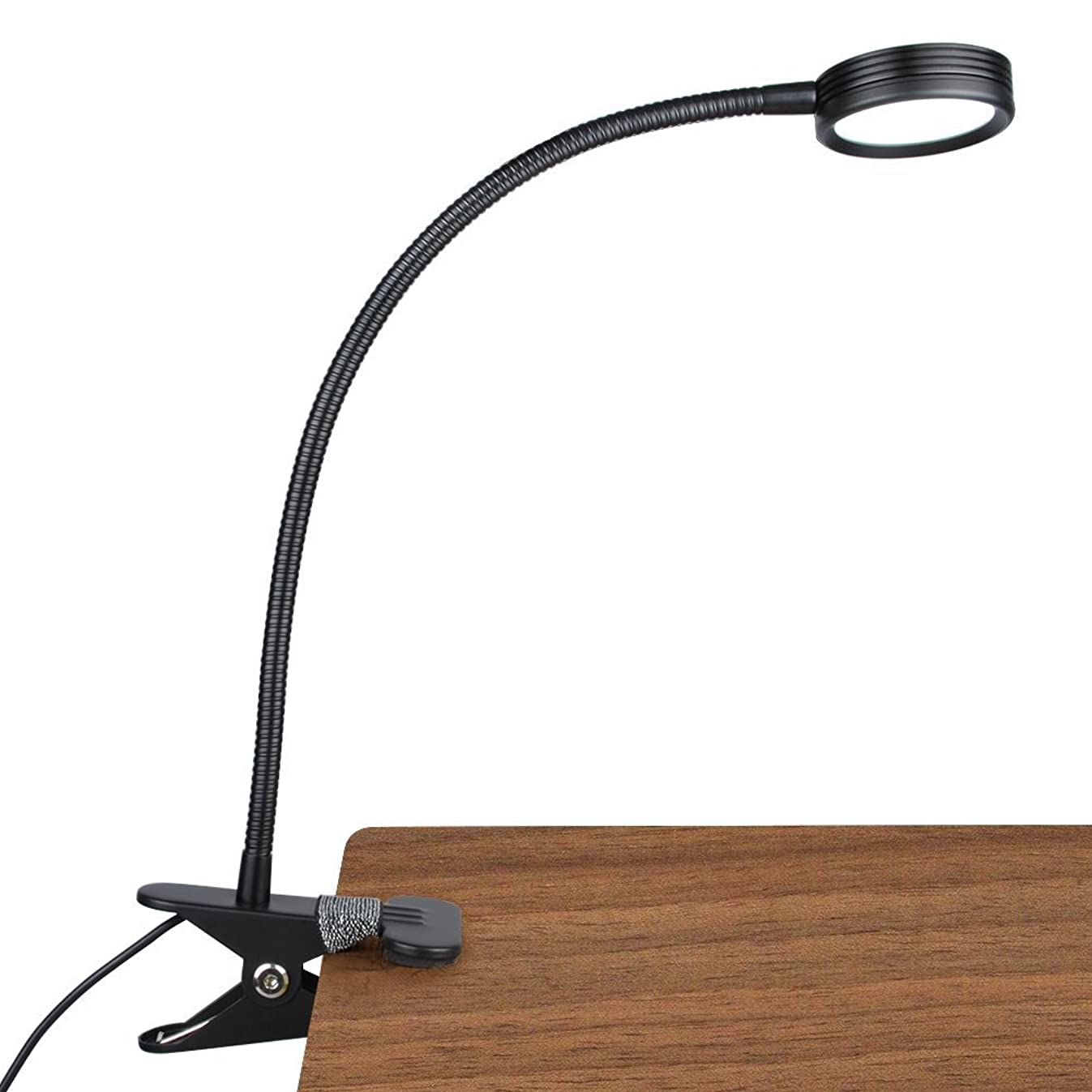 LEPOWER New Version Metal Clip On Light, Flexible Bed Light with 3 Colors x Stepless Adjustable Brightness, Eye Caring Reading Light for Desk, Bed Headboard and Computers(Black)-No AC Adapter