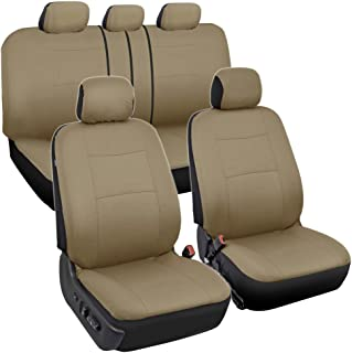 BDK OS-334-BG Tan Trim Black Car Seat Covers Full 9pc Set - Sleek & Stylish - Split Option Bench 5 Headrests Front & Rear Bench