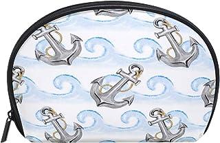 ALAZA Sea Anchor Half Moon Cosmetic Makeup Toiletry Bag Pouch Travel Handy Purse Organizer Bag for Women Girls
